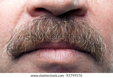 closeup mustaches and closed mouth of mature caucasian man - stock photo