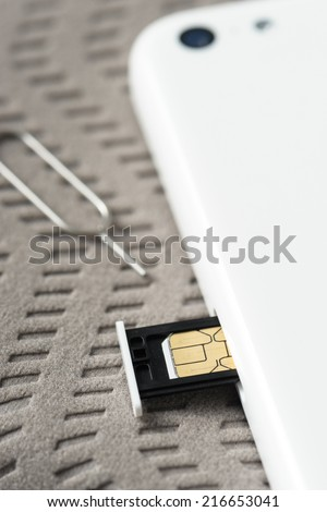 closeup Nano SIM card ready to insert to smart phone - stock photo