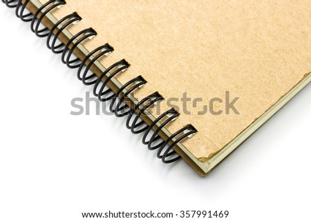 Closeup notebook background on white