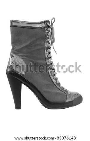 Closeup O a High Heel Boot, Isolated on White - stock photo