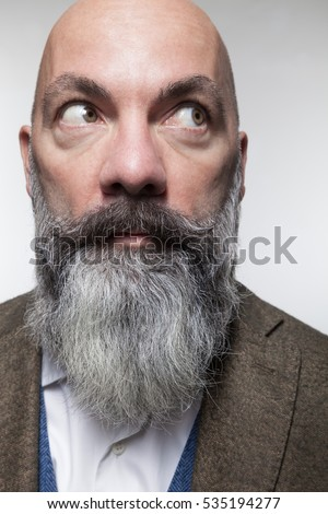 close beard styles closeup bald man long beard isolated stock photo 535194277. Black Bedroom Furniture Sets. Home Design Ideas