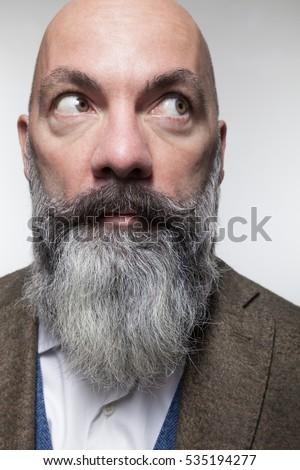 close beard styles closeup bald man long beard isolated stock photo 535194277. Black Bedroom Furniture Sets. Home Design Ideas
