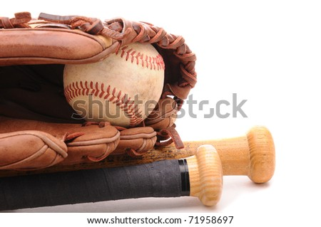 Closeup of a Baseball Glove, ball and two bats on white with copyspace. Horizontal format. - stock photo