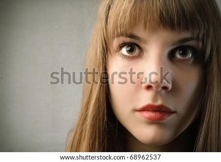 Closeup of a beautiful woman - stock photo