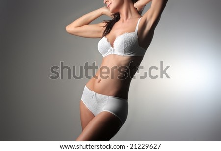 closeup of a beautiful woman in lingerie - stock photo