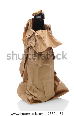 Closeup of a beer bottle inside a brown paper bag. Cap is partially off with foam popping out of the bottle neck. Isolated on white with reflection. - stock photo