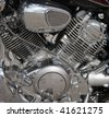 Closeup of a big shiny Motorcycle engine - stock photo