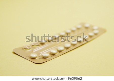 Closeup of a birth control pills blister - stock photo
