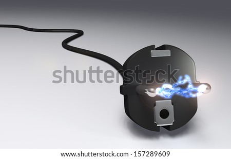 closeup of a black plug with a high voltage arc between its pins - stock photo