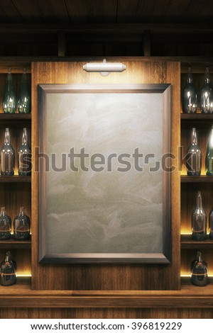 Closeup of a blank blackboard in pub interior. Mock up, 3D Render - stock photo