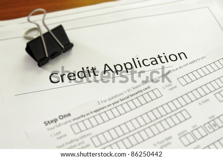 closeup of a blank credit application form