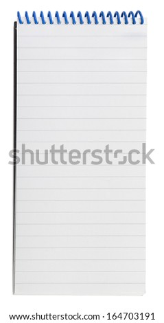 Closeup of a blank isolated notepad