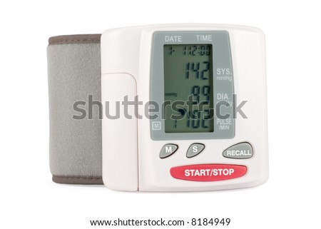 Closeup of a blood pressure measuring device isolated on a white background