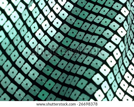 Closeup of a blue, 80s style sequined textile. More of this motif & more fabrics in my port. - stock photo