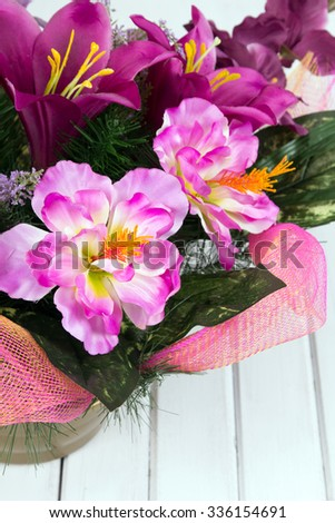 closeup of a bouquet of artificial flowers