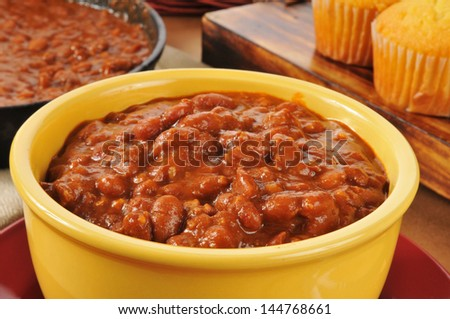 Closeup of a bowl of chili con carne - stock photo