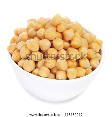 closeup of a bowl with boiled chickpeas on a white background