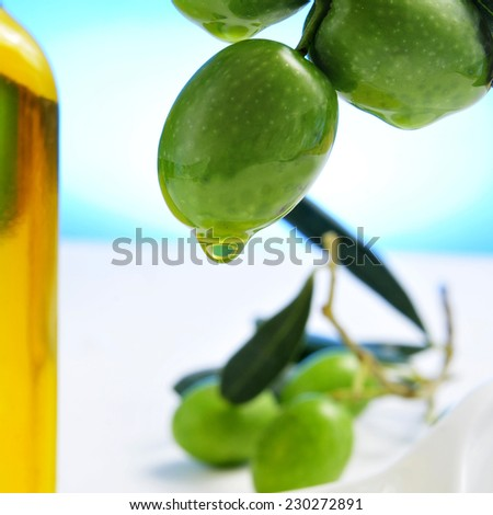 closeup of a branch of olive tree with olives and a bottle of olive oil in the background - stock photo