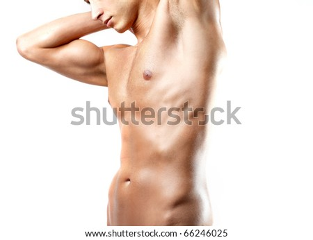 Closeup of a brawny man's torso - stock photo