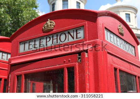 Closeup of a british red telephone box or booth - stock photo