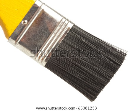 closeup of a brush on a white background - stock photo