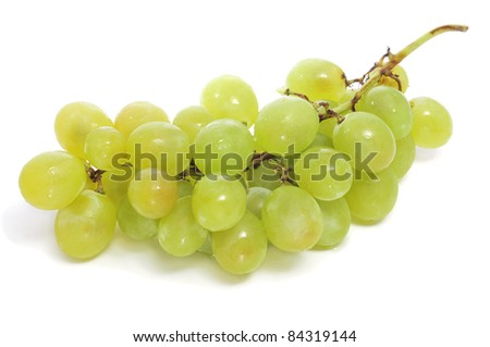 closeup of a bunch of grapes on a white background
