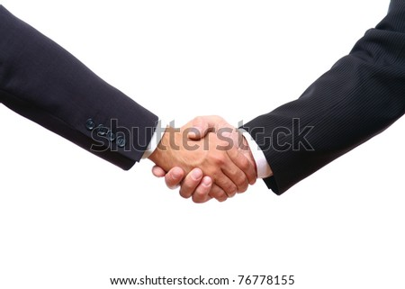 Closeup of a business handshake on white - stock photo