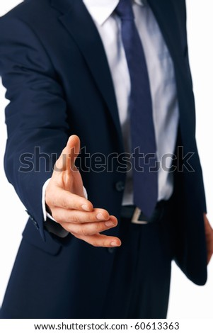Closeup of a business man's hand greeting you against white background