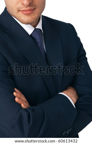 Closeup of a business man's hands folded - stock photo