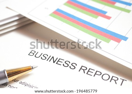 Closeup of a business report - stock photo