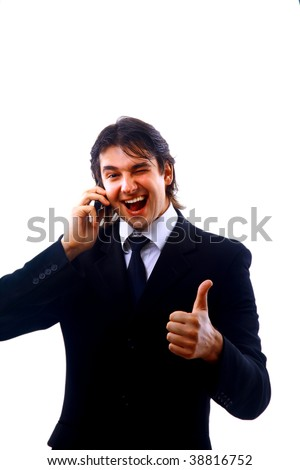 Closeup of a businessman using mobile phone against white background