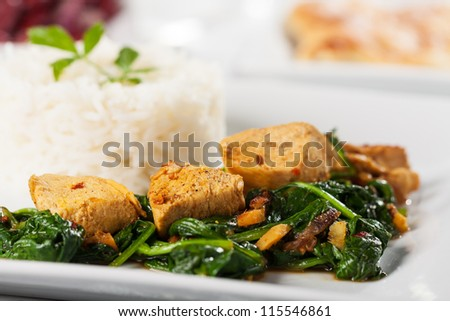 closeup of a chicken curry