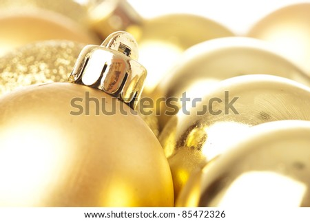 closeup of a christmas balls on a white background - stock photo