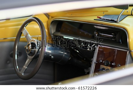 closeup of a classic vintage car - stock photo