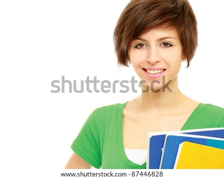 Closeup of a college girl with books, isolated on white - stock photo