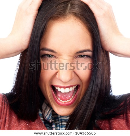 Closeup of a comically frustrated caucasian woman isolated on white background