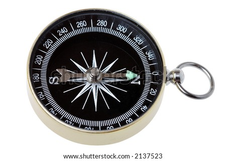Closeup of a compass on white background