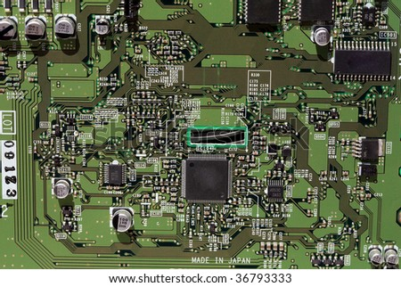 closeup of a computer circut board - stock photo