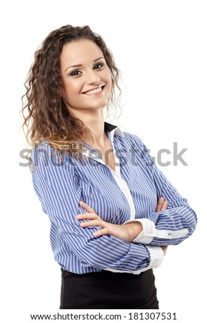 Closeup of a confident successful businesswoman with arms folded isolated over white background