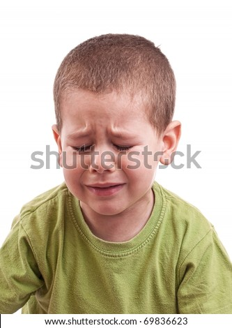 Closeup of a crying boy whit closed eyes - stock photo