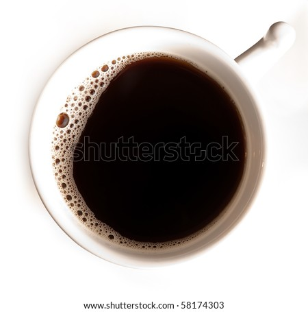 Closeup of a cup full of hot black coffee - stock photo