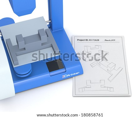 closeup of a 3d printer with a sketch document and a prototype (3d render) - stock photo