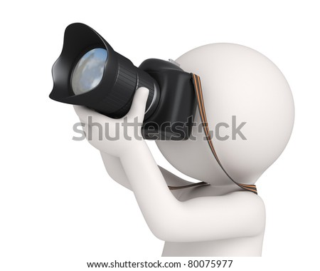 Closeup of a 3d virtual photographer aiming to the sky with his digital camera - Isolated - stock photo