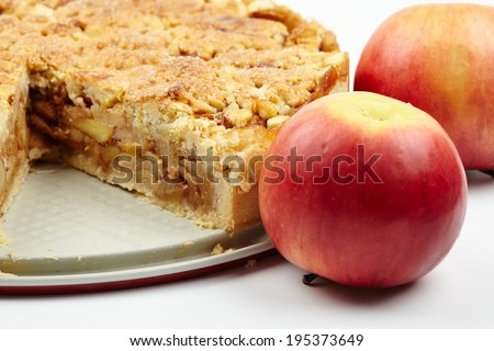Closeup of a delicious crunchy crumble apple pie