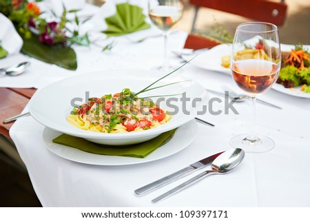 closeup of a delicious pasta meal - stock photo