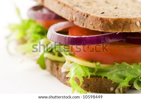 closeup of a deliciously looking sandwich with cheese, lettuce, red onion and tomato.  Focus on onion. healthy food. grainy sandwich. - stock photo
