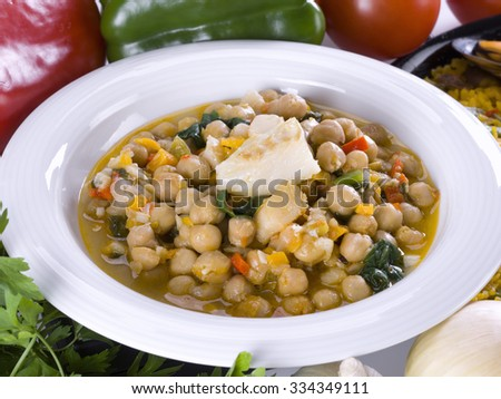Closeup of a dish of potage chick-peas