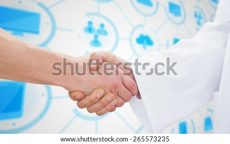 Closeup of a doctor and patient shaking hands against apps interface - stock photo
