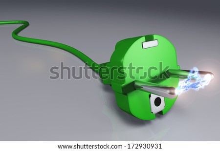 closeup of a ecological green plug with a high voltage arc between its pins - stock photo