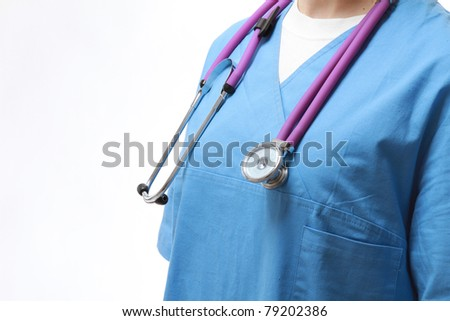 Closeup of a female doctor or a nurse with a stethoscope, focus on the stethoscope on her neck, isolated on white - stock photo